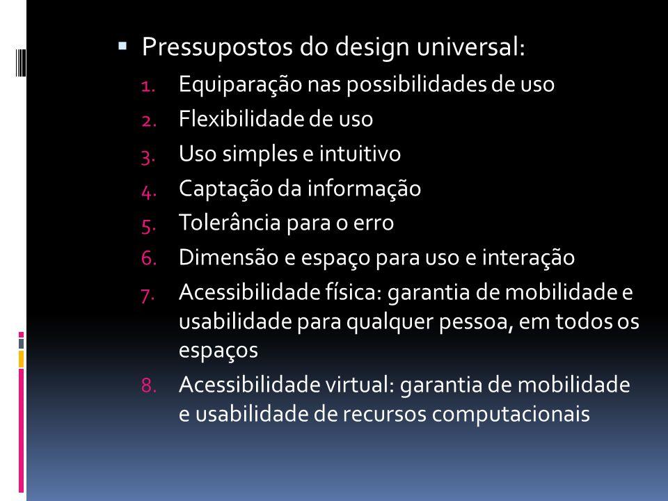 Pressupostos do design universal: