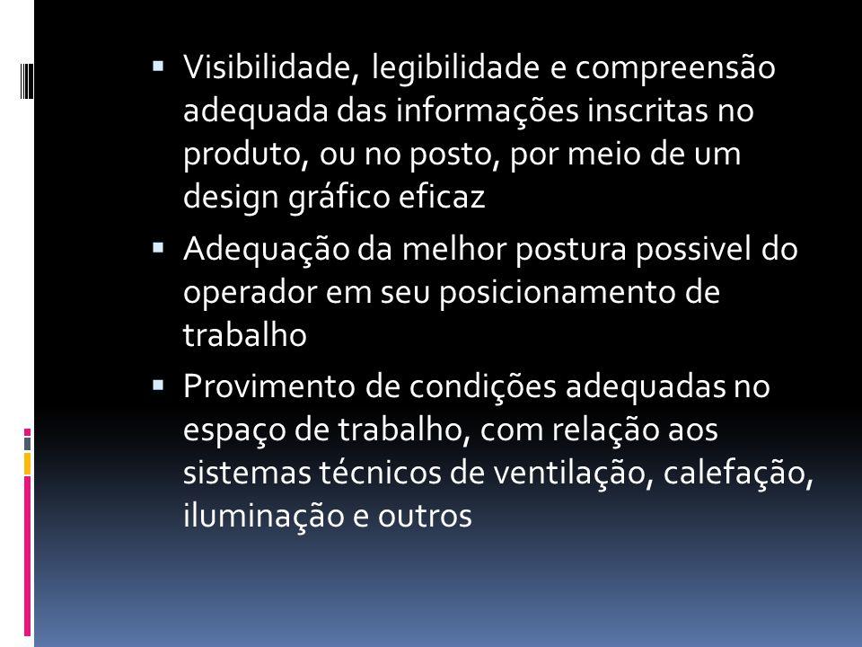 Visibilidade, legibilidade e compreensão adequada das informações inscritas no produto, ou no posto, por meio de um design gráfico eficaz