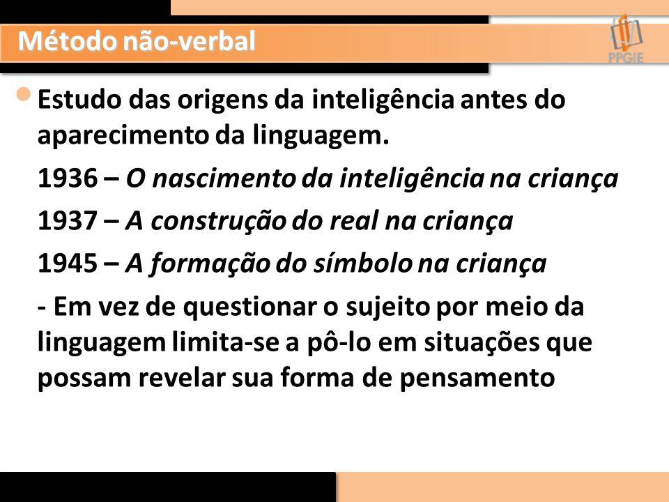 Método não-verbal Estudo das origens da inteligência antes do aparecimento da linguagem. 1936 – O nascimento da inteligência na criança.