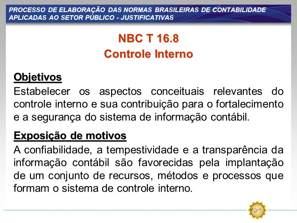 NBC T 16.8 Controle Interno Objetivos
