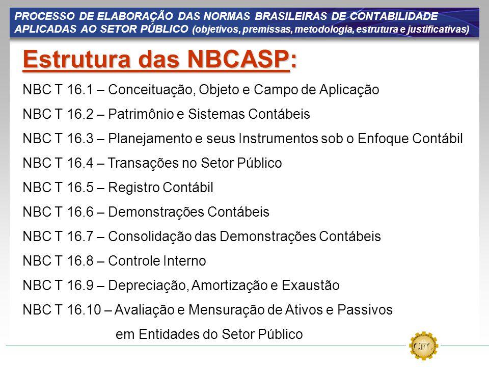 PROCESSO DE ELABORAÇÃO DAS NORMAS BRASILEIRAS DE CONTABILIDADE APLICADAS AO SETOR PÚBLICO (objetivos, premissas, metodologia, estrutura e justificativas)
