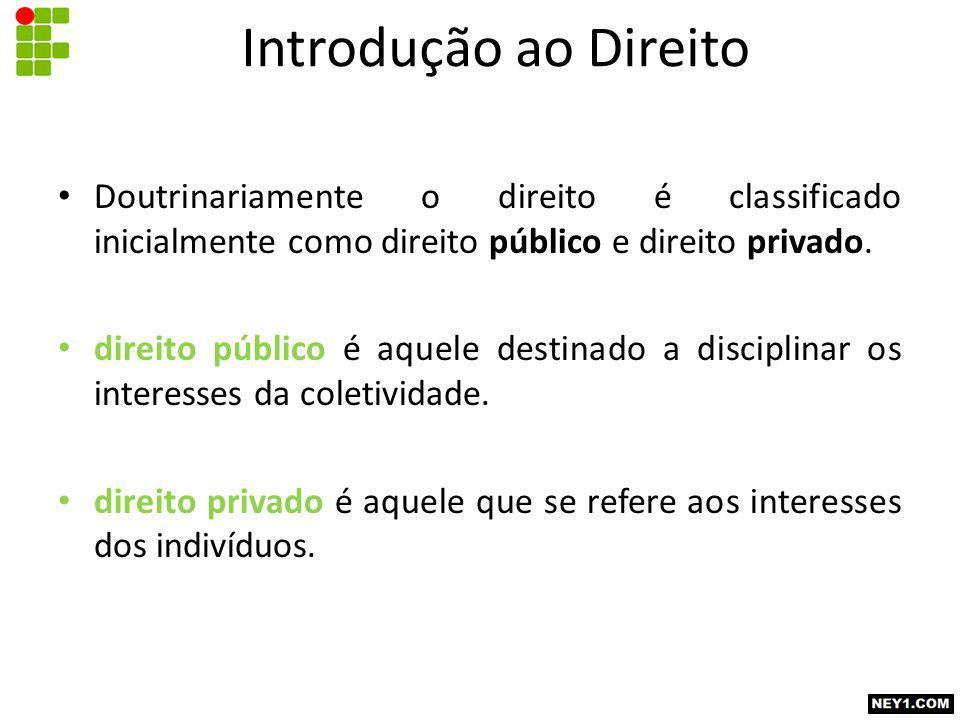 Introdução ao Direito Doutrinariamente o direito é classificado inicialmente como direito público e direito privado.