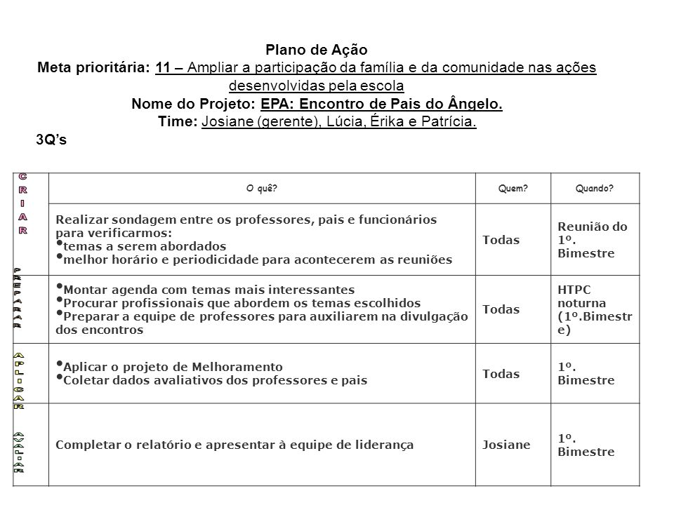 Nome do Projeto: EPA: Encontro de Pais do Ângelo.