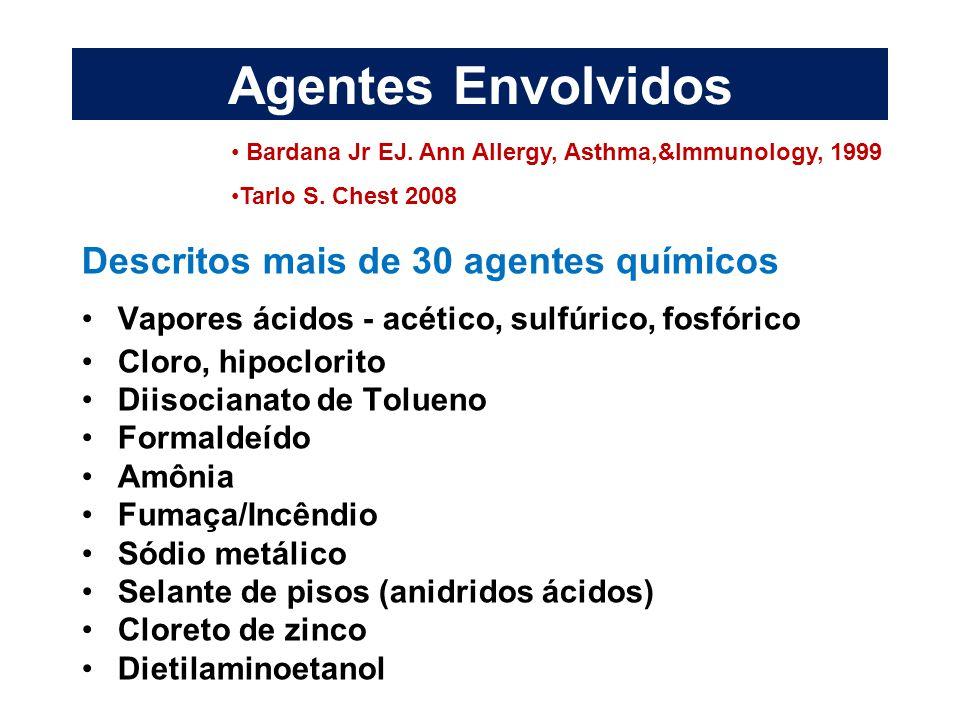 Agentes Envolvidos Descritos mais de 30 agentes químicos
