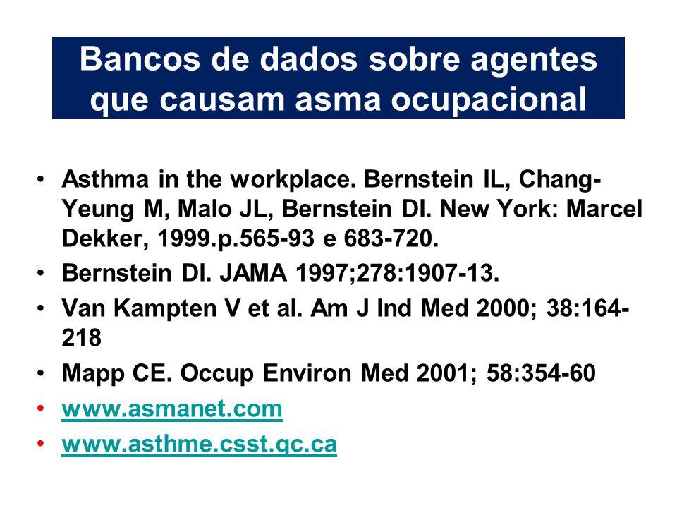 Bancos de dados sobre agentes que causam asma ocupacional