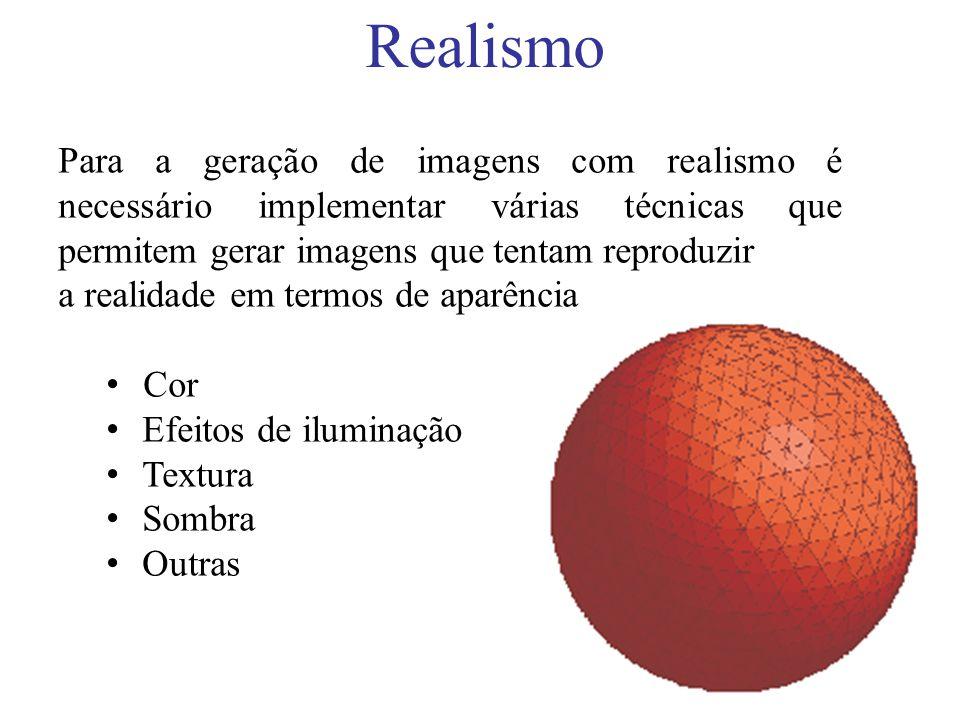 Realismo Para a geração de imagens com realismo é necessário implementar várias técnicas que permitem gerar imagens que tentam reproduzir.