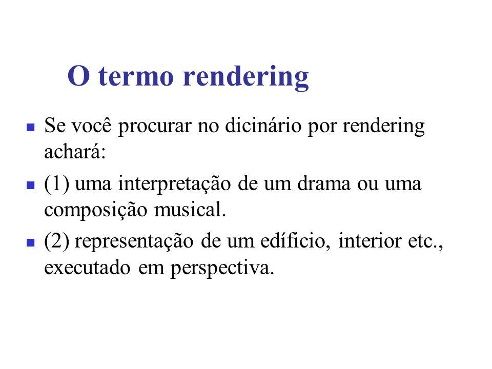 O termo rendering Se você procurar no dicinário por rendering achará: