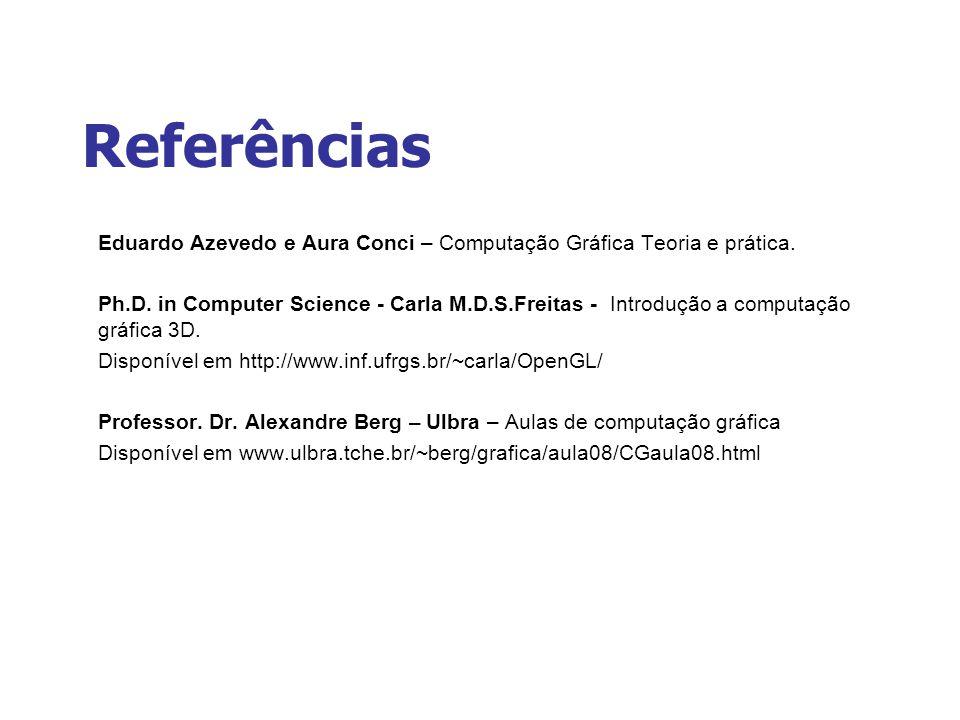 Referências Eduardo Azevedo e Aura Conci – Computação Gráfica Teoria e prática.