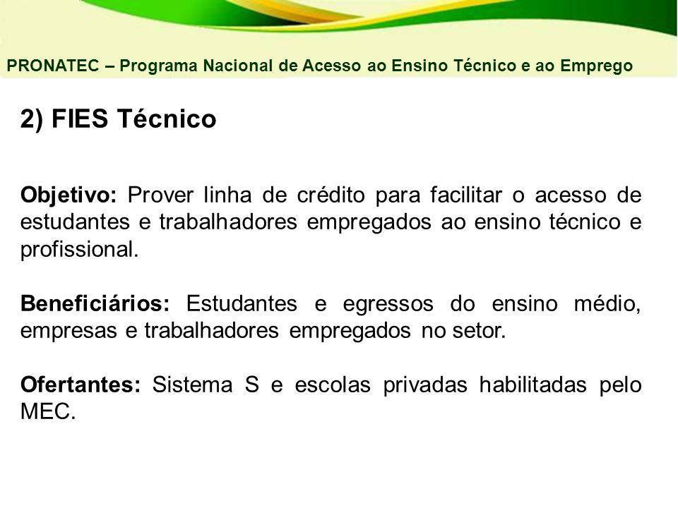 04/03/11 PRONATEC – Programa Nacional de Acesso ao Ensino Técnico e ao Emprego. 2) FIES Técnico.