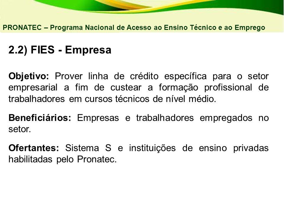 04/03/11 PRONATEC – Programa Nacional de Acesso ao Ensino Técnico e ao Emprego. 2.2) FIES - Empresa.