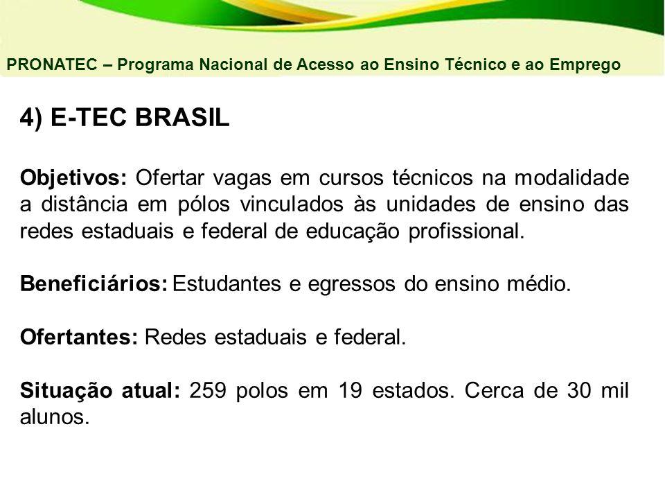 04/03/11 PRONATEC – Programa Nacional de Acesso ao Ensino Técnico e ao Emprego. 4) E-TEC BRASIL.