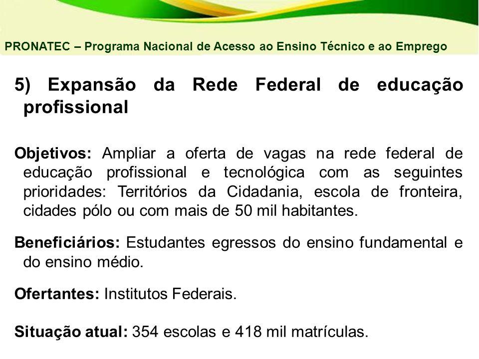 5) Expansão da Rede Federal de educação profissional