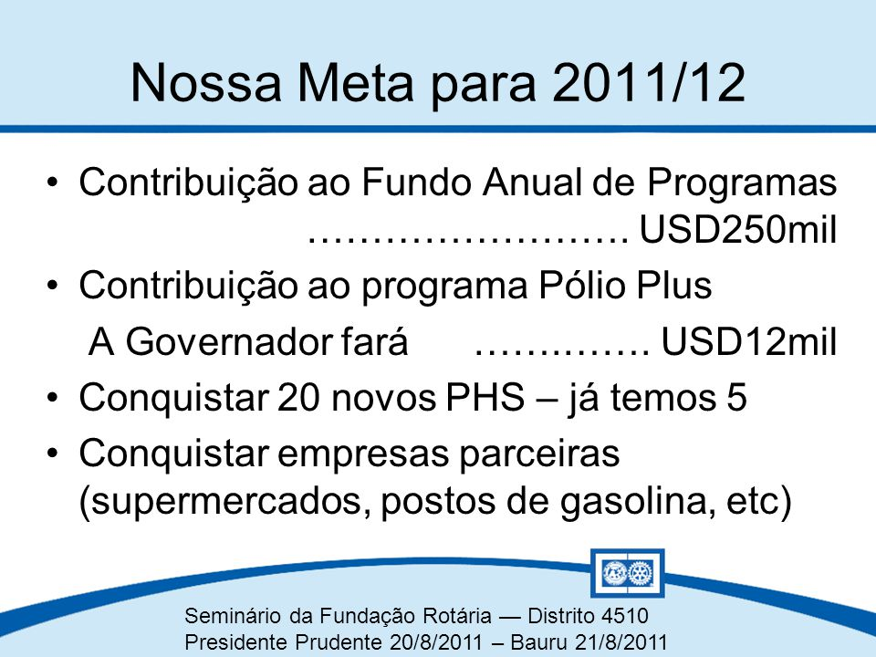 Nossa Meta para 2011/12 Contribuição ao Fundo Anual de Programas ……………………. USD250mil. Contribuição ao programa Pólio Plus.