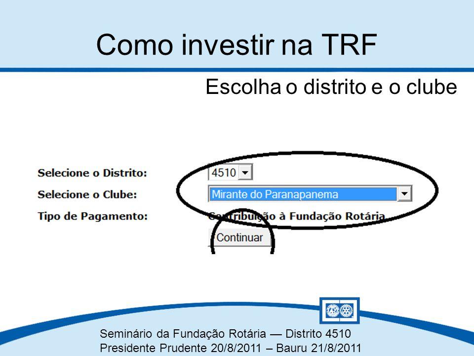 Como investir na TRF Escolha o distrito e o clube