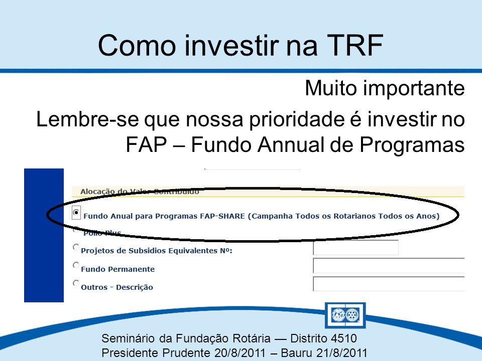 Como investir na TRF Muito importante