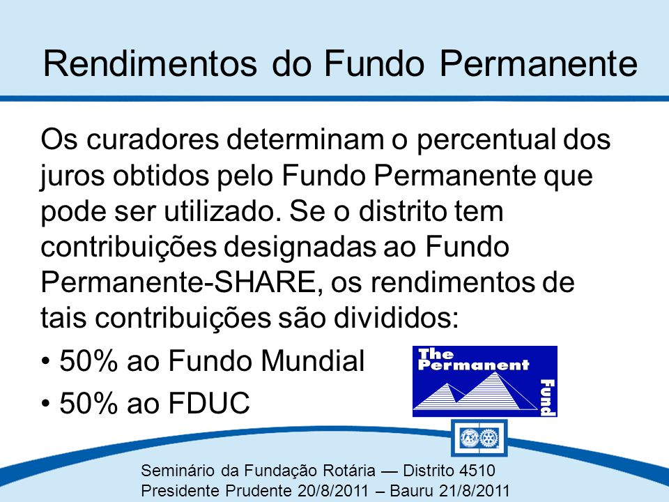 Rendimentos do Fundo Permanente