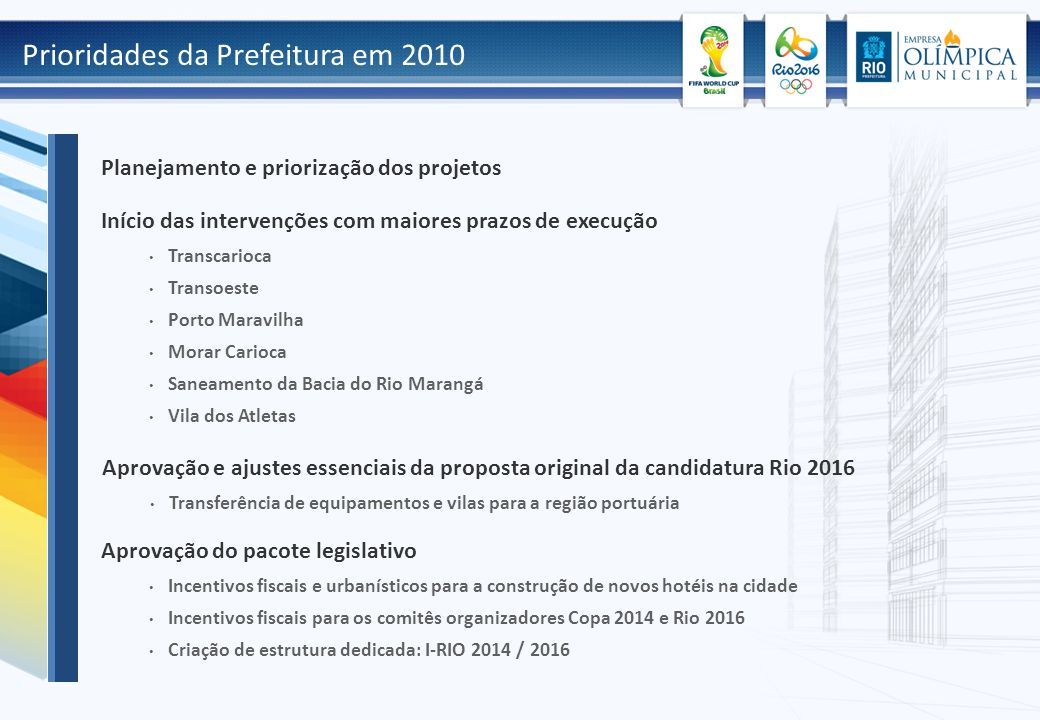 Prioridades da Prefeitura em 2010