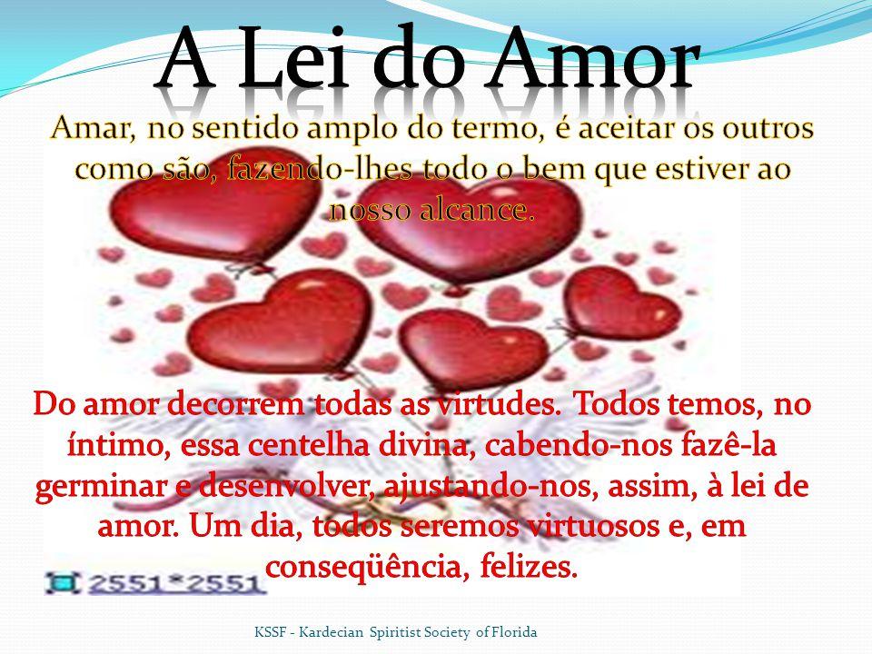 A Lei do Amor Amar, no sentido amplo do termo, é aceitar os outros como são, fazendo-lhes todo o bem que estiver ao nosso alcance.