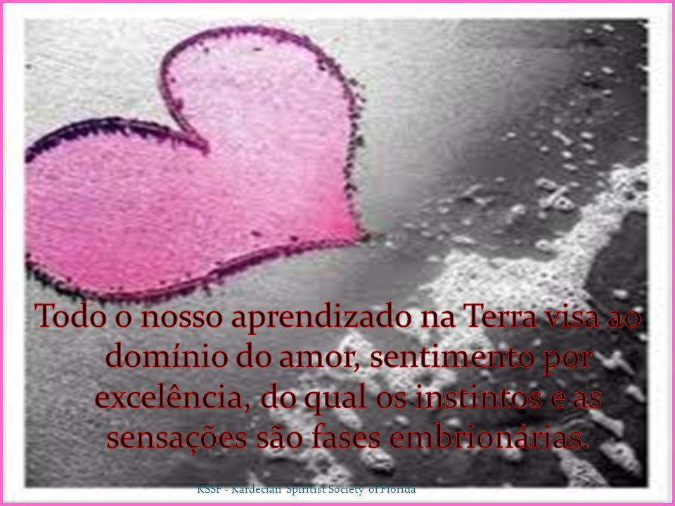 Todo o nosso aprendizado na Terra visa ao domínio do amor, sentimento por excelência, do qual os instintos e as sensações são fases embrionárias.