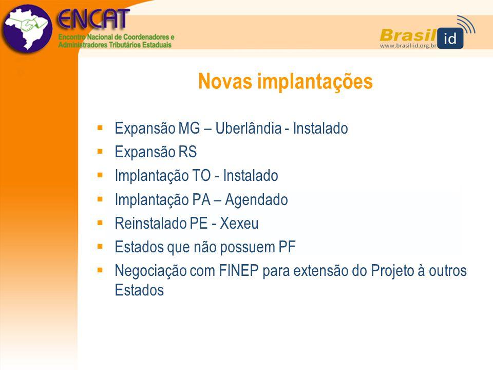 Novas implantações Expansão MG – Uberlândia - Instalado Expansão RS