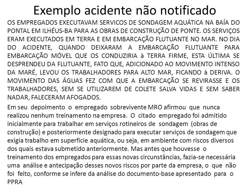 Exemplo acidente não notificado