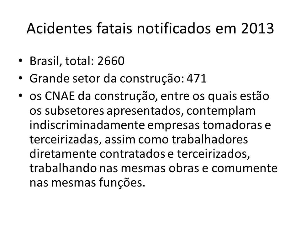 Acidentes fatais notificados em 2013