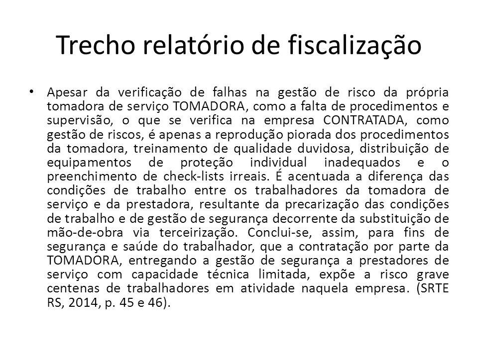 Trecho relatório de fiscalização