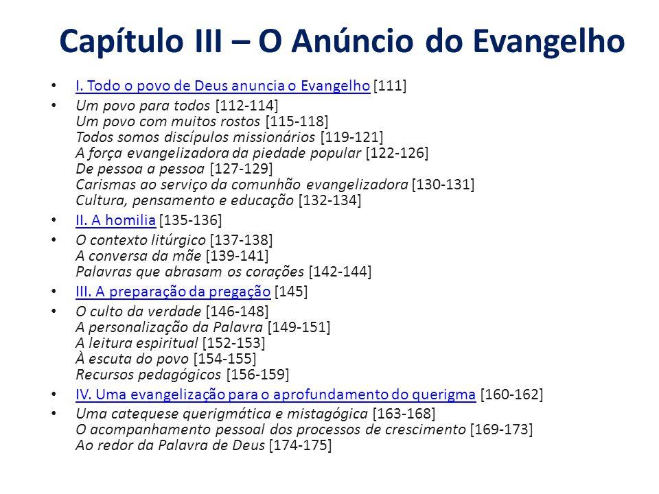 Capítulo III – O Anúncio do Evangelho