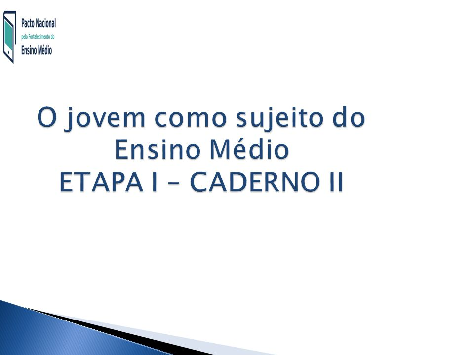 O jovem como sujeito do Ensino Médio ETAPA I – CADERNO II