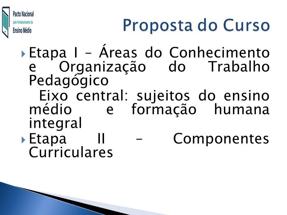 Proposta do Curso Etapa I – Áreas do Conhecimento e Organização do Trabalho Pedagógico.