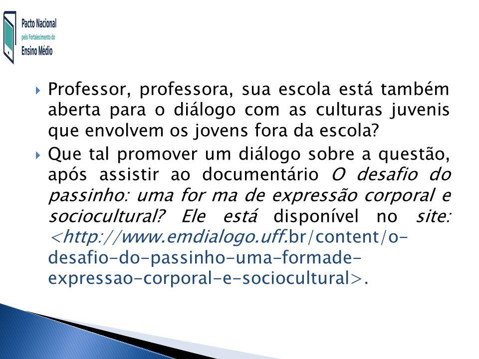 Professor, professora, sua escola está também aberta para o diálogo com as culturas juvenis que envolvem os jovens fora da escola