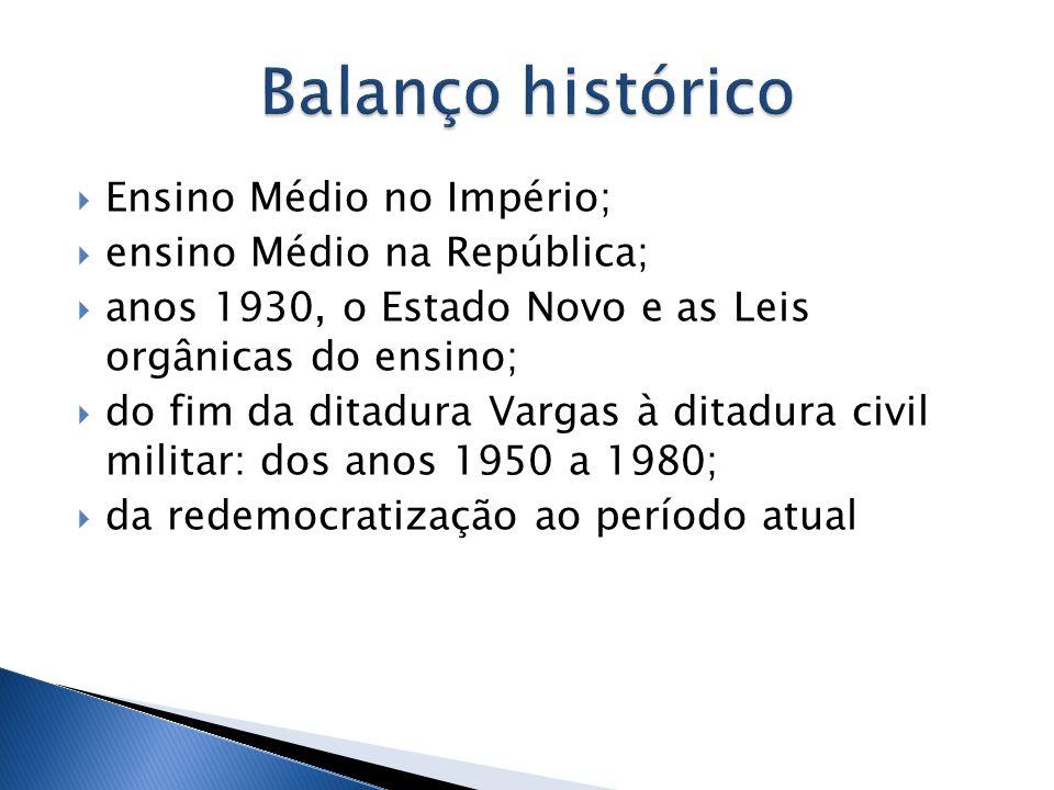 Balanço histórico Ensino Médio no Império; ensino Médio na República;
