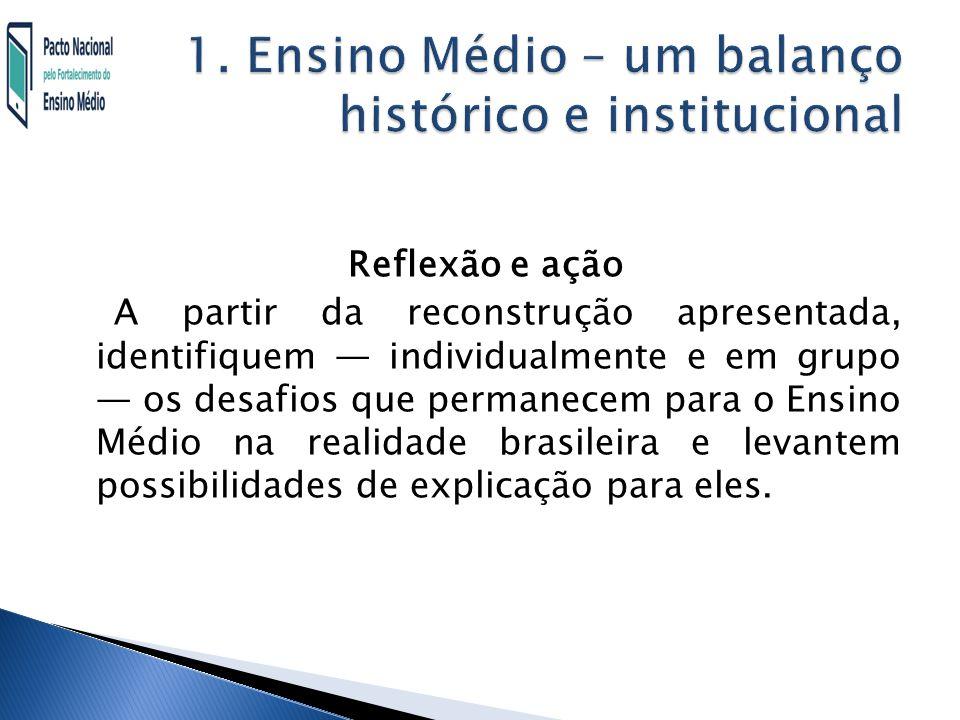1. Ensino Médio – um balanço histórico e institucional