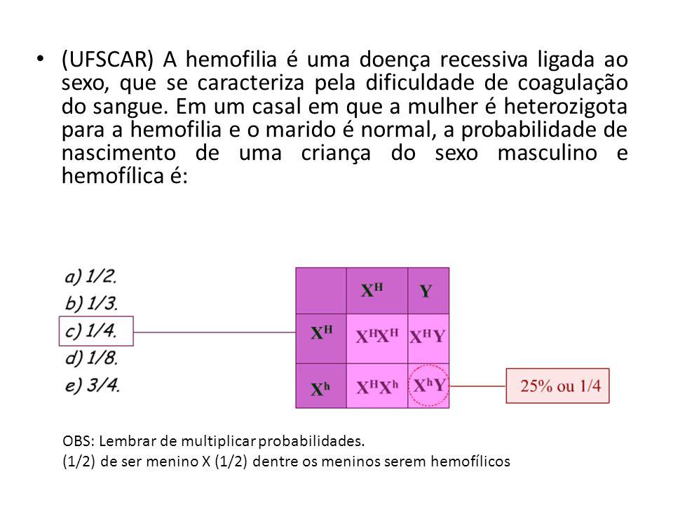 (UFSCAR) A hemofilia é uma doença recessiva ligada ao sexo, que se caracteriza pela dificuldade de coagulação do sangue. Em um casal em que a mulher é heterozigota para a hemofilia e o marido é normal, a probabilidade de nascimento de uma criança do sexo masculino e hemofílica é: