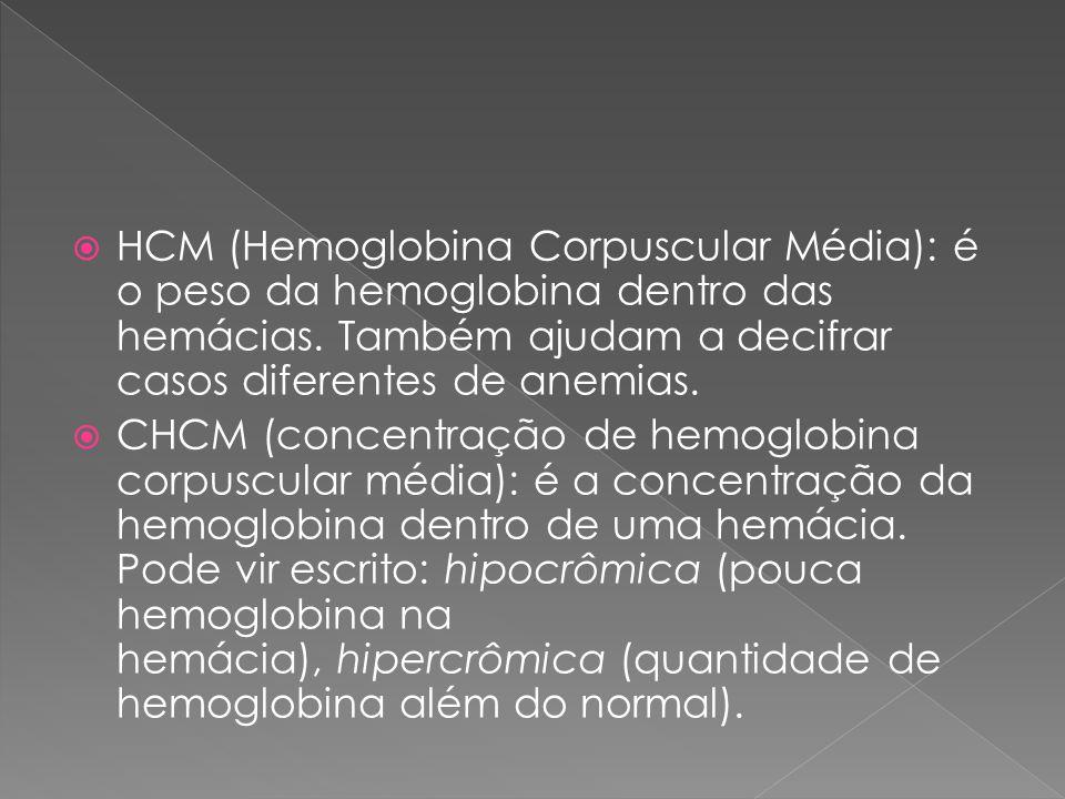HCM (Hemoglobina Corpuscular Média): é o peso da hemoglobina dentro das hemácias. Também ajudam a decifrar casos diferentes de anemias.