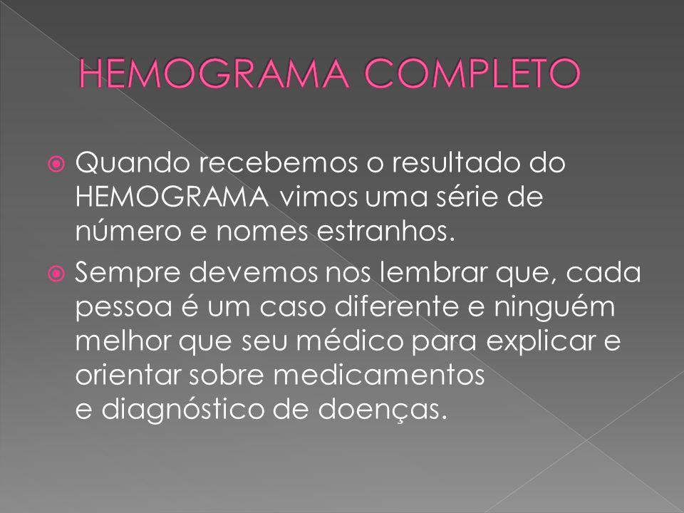 HEMOGRAMA COMPLETO Quando recebemos o resultado do HEMOGRAMA vimos uma série de número e nomes estranhos.