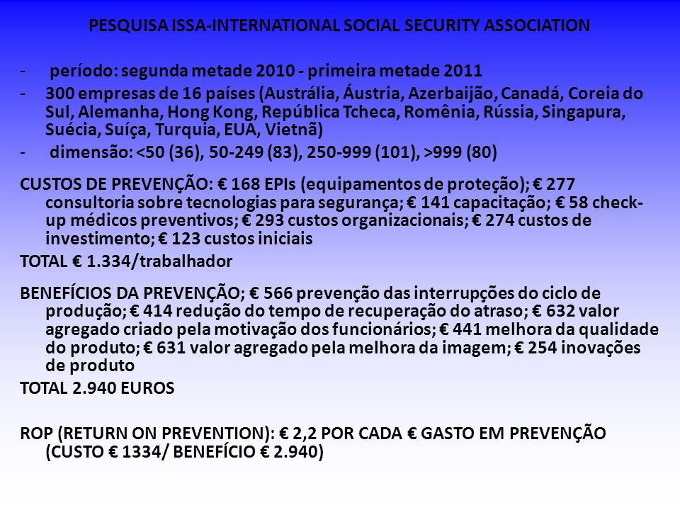 PESQUISA ISSA-INTERNATIONAL SOCIAL SECURITY ASSOCIATION