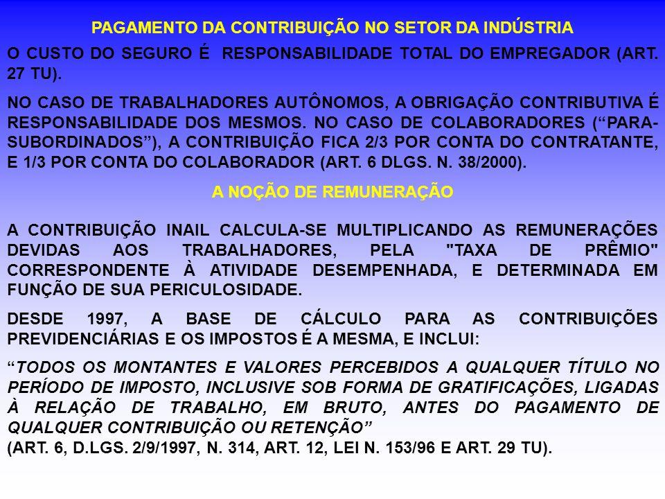 PAGAMENTO DA CONTRIBUIÇÃO NO SETOR DA INDÚSTRIA