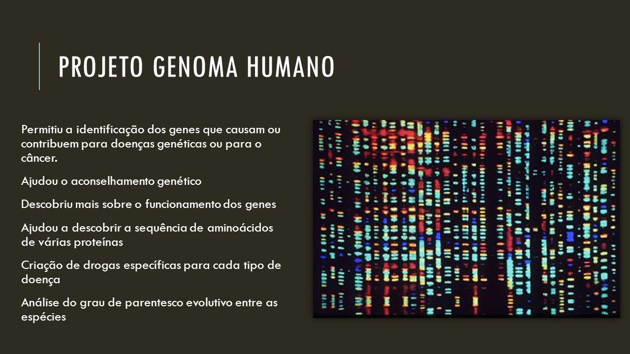 Projeto genoma humano Permitiu a identificação dos genes que causam ou contribuem para doenças genéticas ou para o câncer.