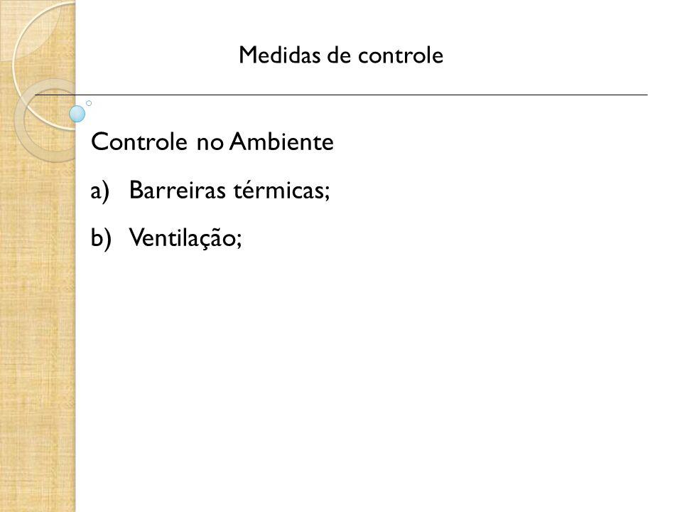 Controle no Ambiente Barreiras térmicas; Ventilação;