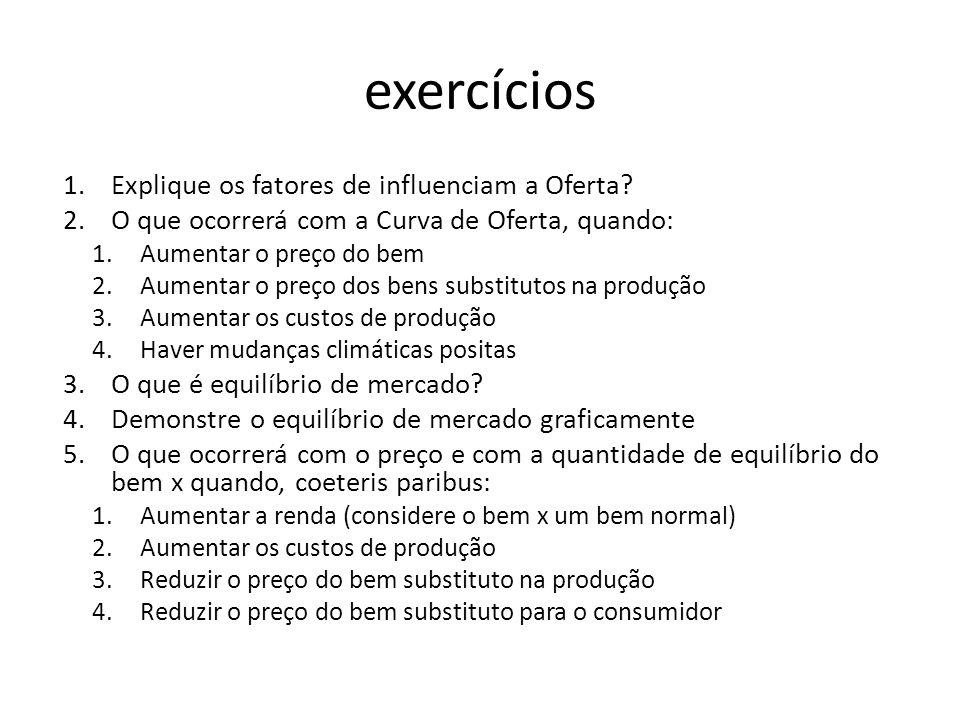 exercícios Explique os fatores de influenciam a Oferta