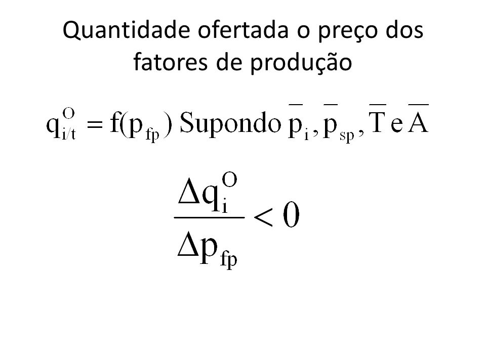 Quantidade ofertada o preço dos fatores de produção
