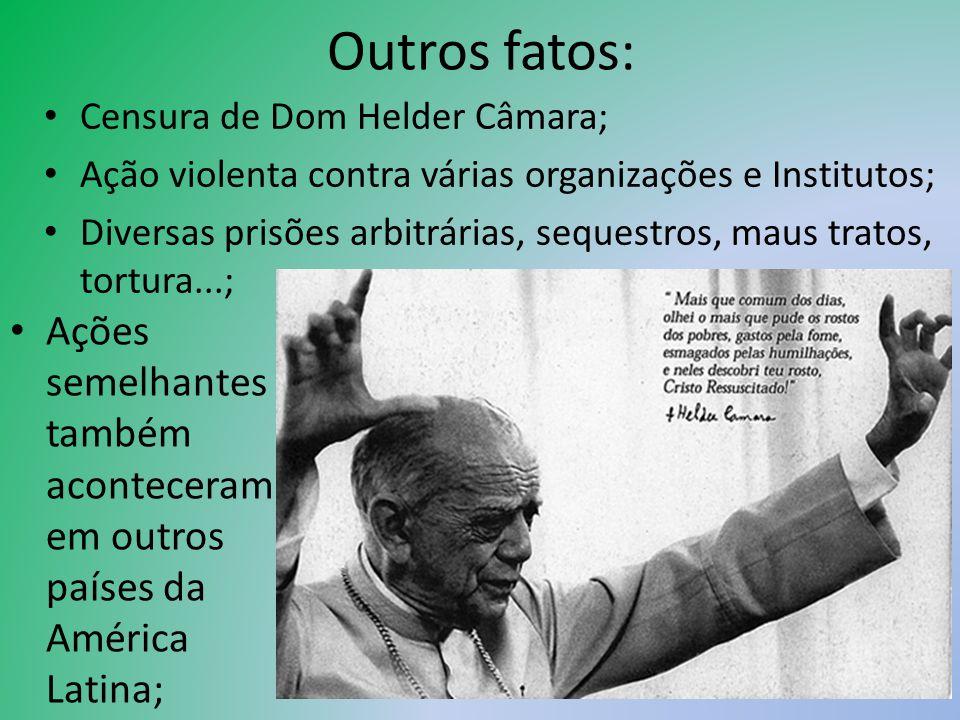 Outros fatos: Censura de Dom Helder Câmara; Ação violenta contra várias organizações e Institutos;
