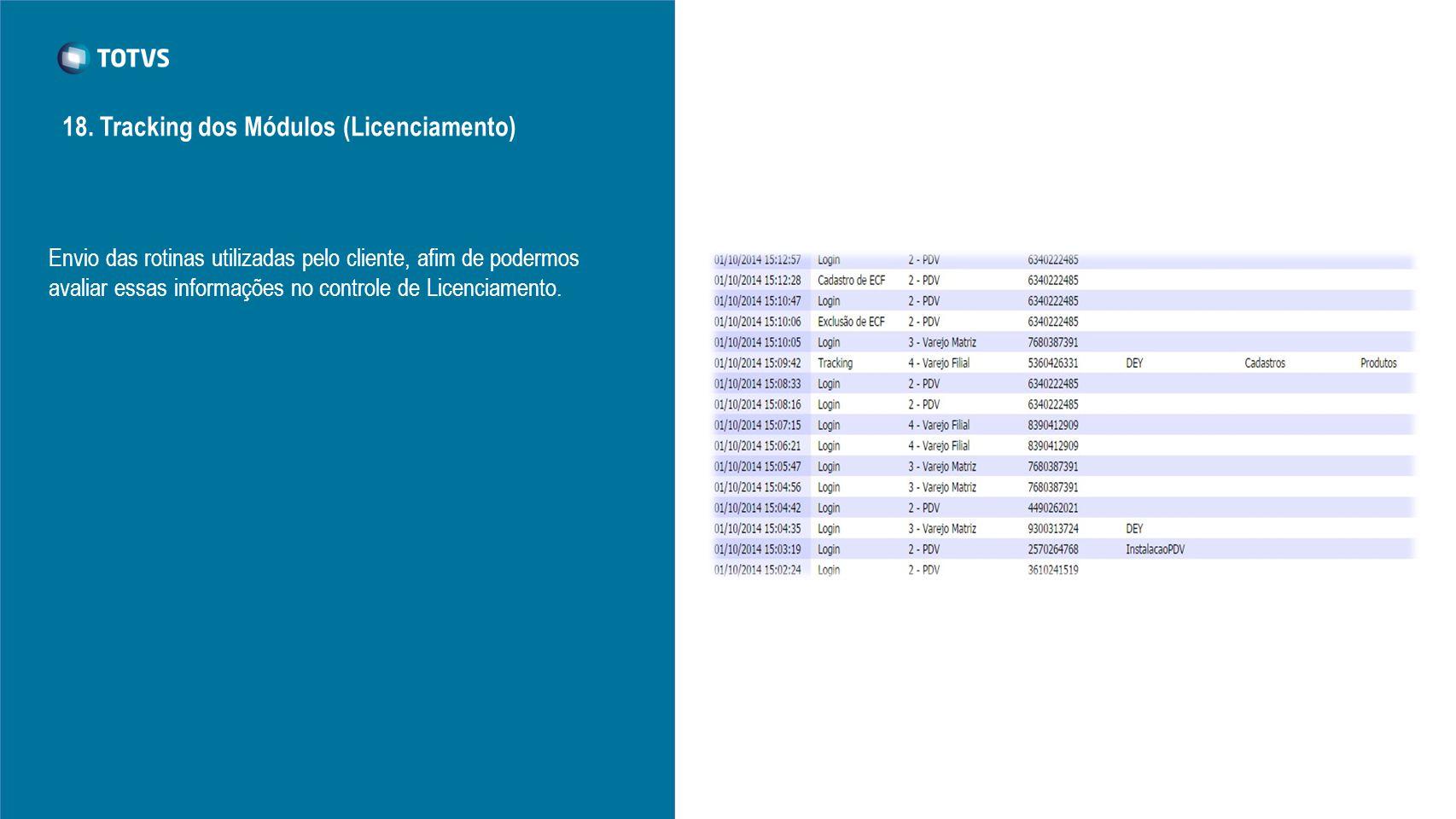 18. Tracking dos Módulos (Licenciamento)