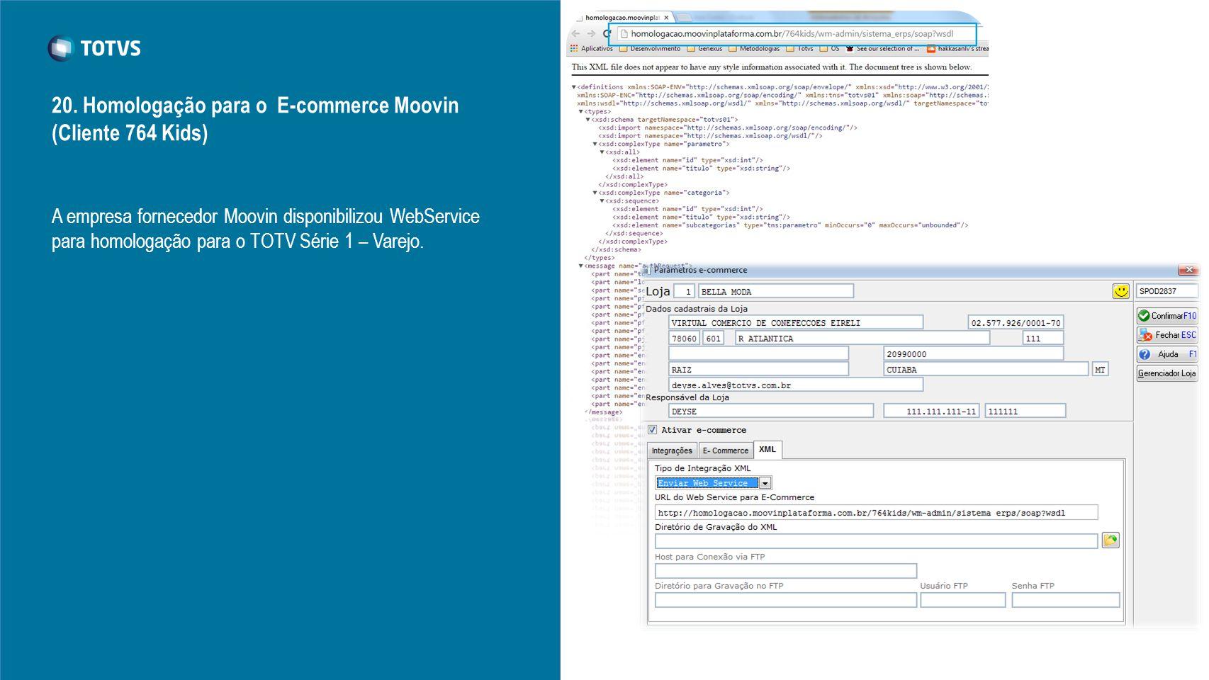 20. Homologação para o E-commerce Moovin (Cliente 764 Kids)