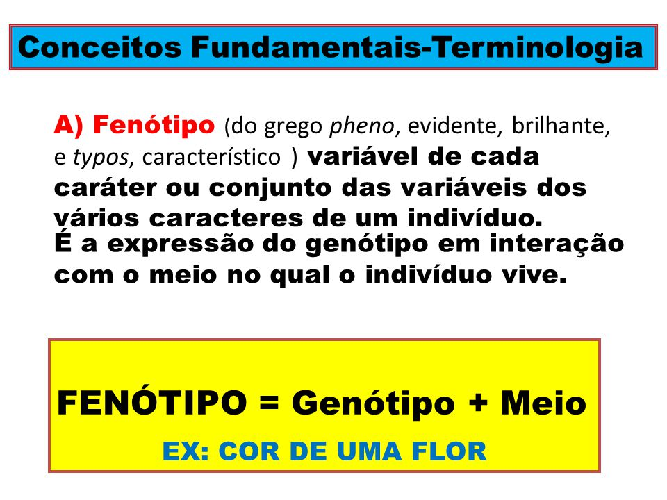 FENÓTIPO = Genótipo + Meio