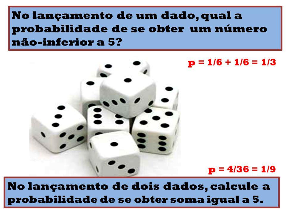 No lançamento de um dado, qual a probabilidade de se obter um número não-inferior a 5