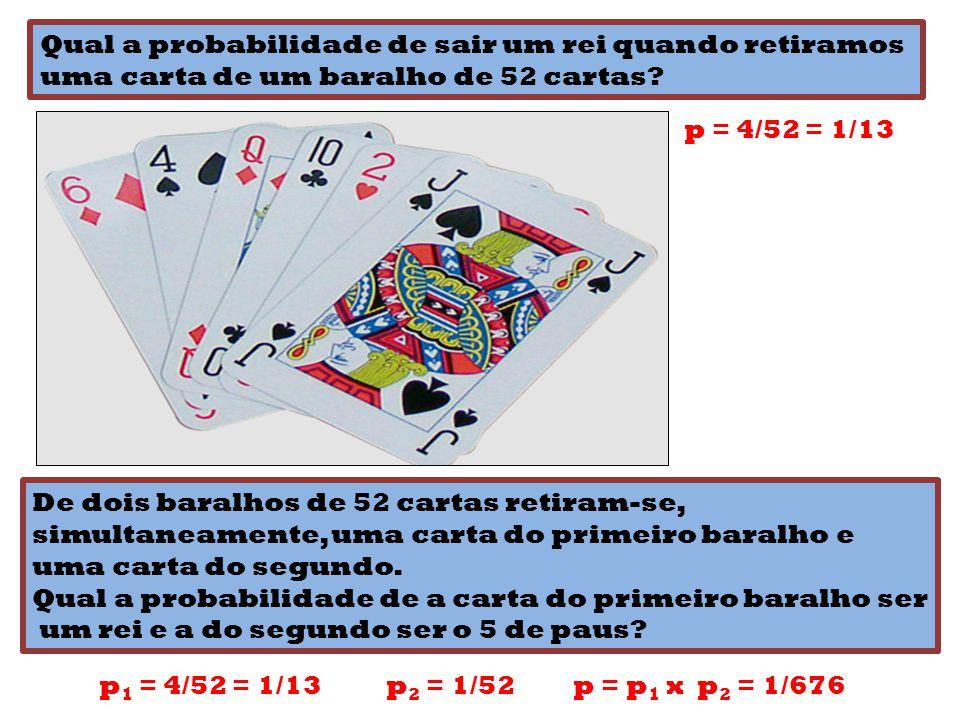 Qual a probabilidade de sair um rei quando retiramos uma carta de um baralho de 52 cartas