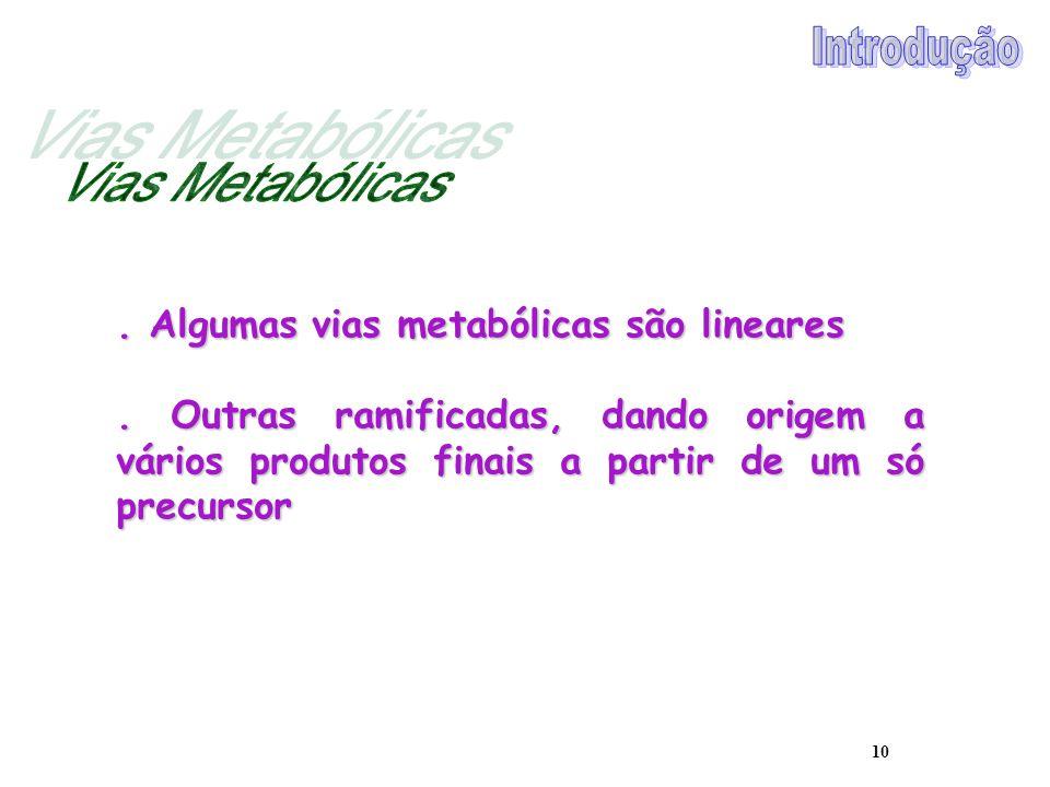 Vias Metabólicas Introdução . Algumas vias metabólicas são lineares