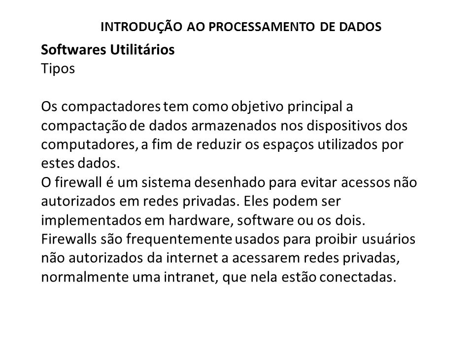 Softwares Utilitários Tipos